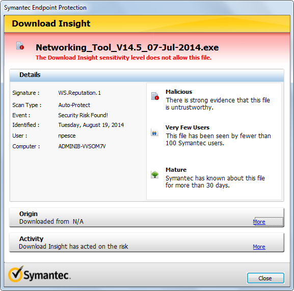 Symantec Endpoint Protection Is Blocking Exe Files - HTML