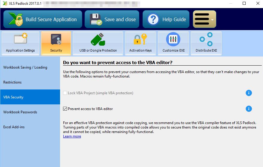 excel secure vba code