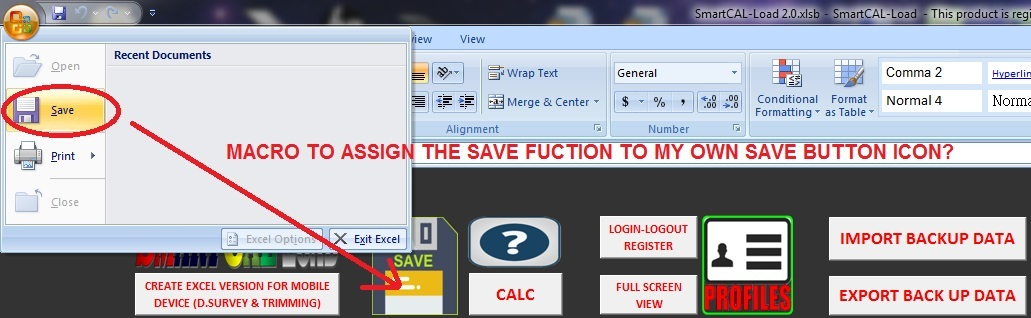 How to assign File > SAVE Button to my own Save Icon - XLS